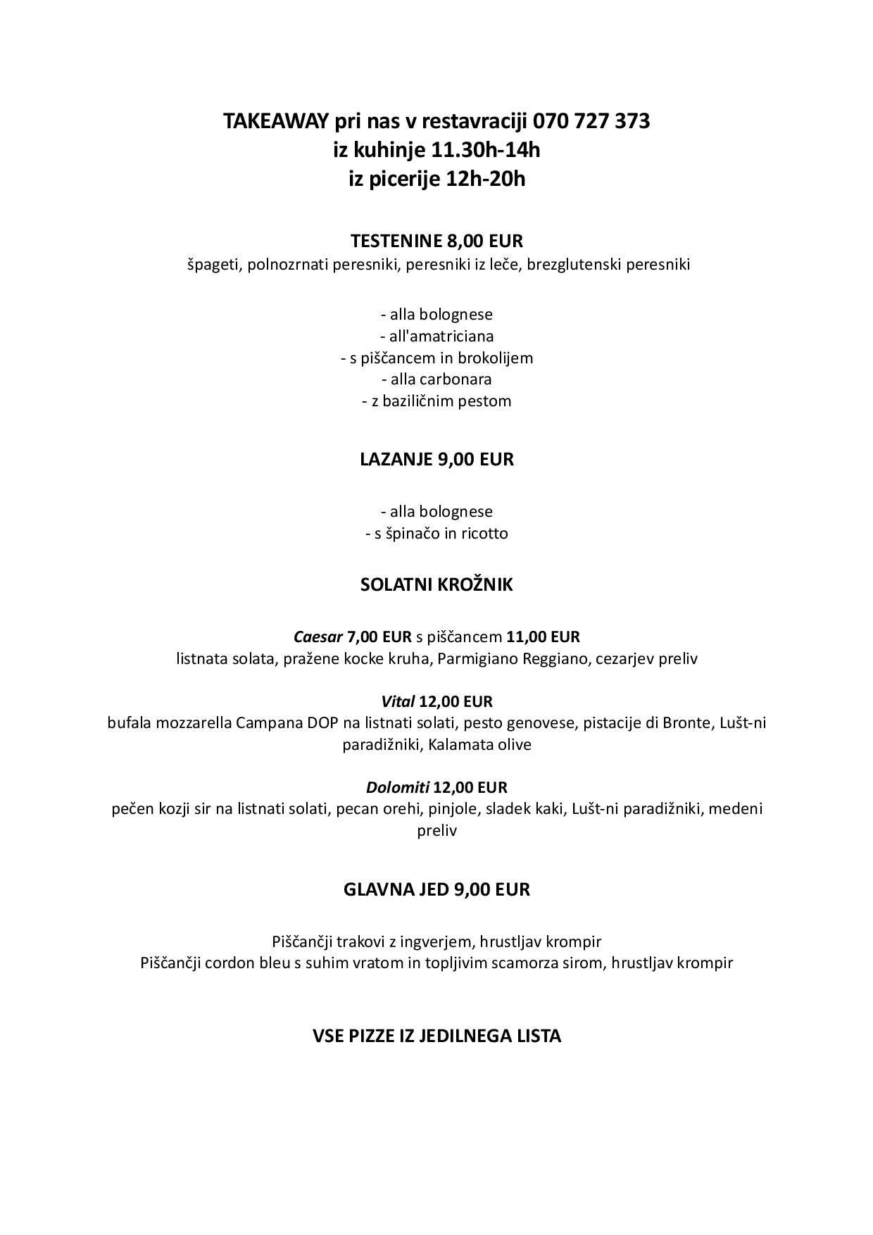 Tedenski menu